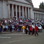 Early crowds massing at the State Capitol Bldg, Olympia, WA. 11/29/2011. Photo by William Bass.
