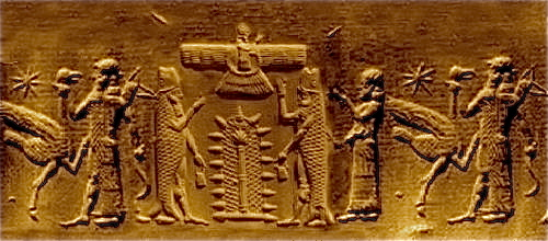 Zoroaster or Zarathustra above the two fish-human hybrid gods called Dagon (or Dagan).