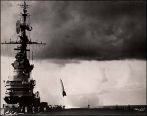Nazi V-2 rocket test launch from the U.S.S. Midway, the aircraft carrier William's father Bill Bass was soon to serve on his time in the U.S. Navy during the early Cold War. 6 September 1947.