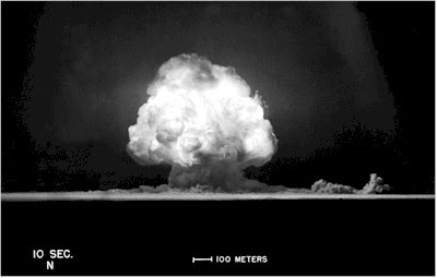 The Trinity Test: Detonation of first atomic bomb, near Alamogordo, New Mexico, 16 July 1945. Image is from 10 mins into the test.
