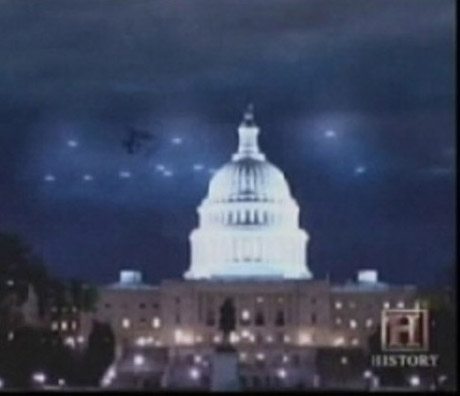 "UFOs over Washington, D.C., during the swarm or ""flap"" of 12 July - 29 July, 1952. Both the U.S.A. and the U.S.S.R. were so alarmed by these waves of unidentifiable craft they set up an emergency communications system to prevent accidental nuclear strikes in case the UFOs were misidentified as each other's aircraft and ICBMs."