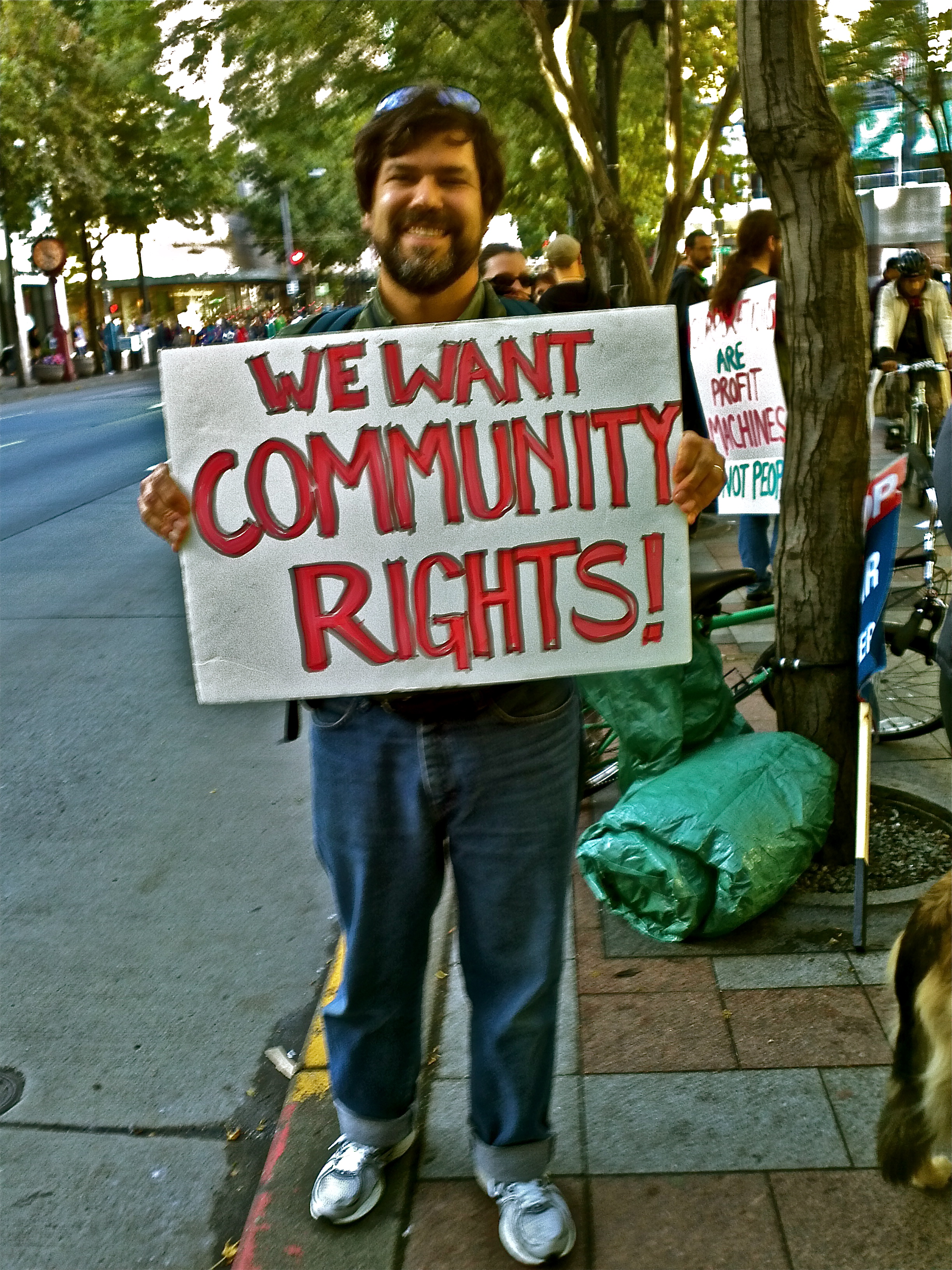 David Wright, community activist & Syd's husband takes a stand during Occupy Seattle on Saturday 8 October 2011. Foto by William Bass.