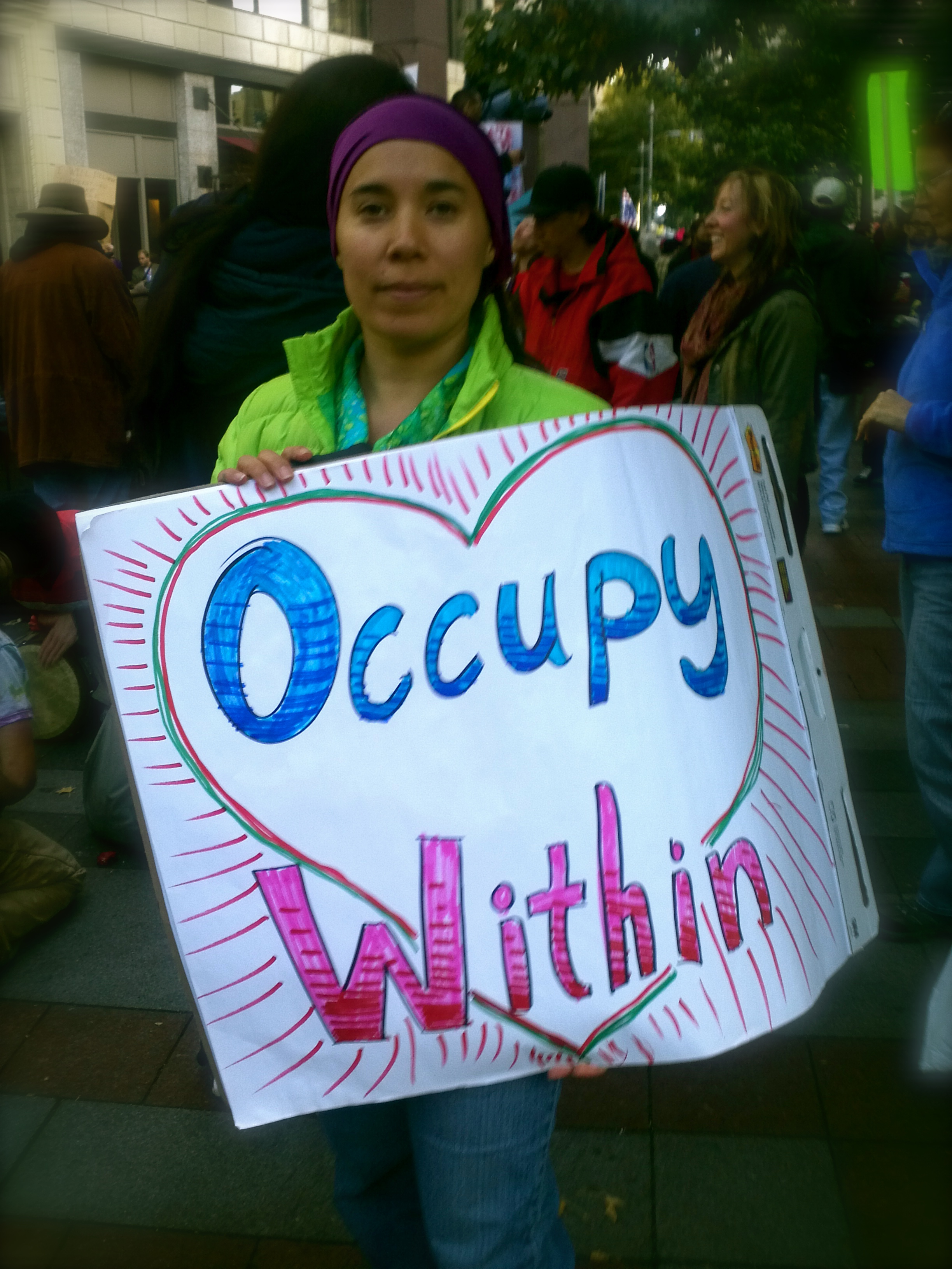 Kristina Katayama Bass going deep at Occupy Seattle/Occupy Earth, Saturday 15 October 2016.