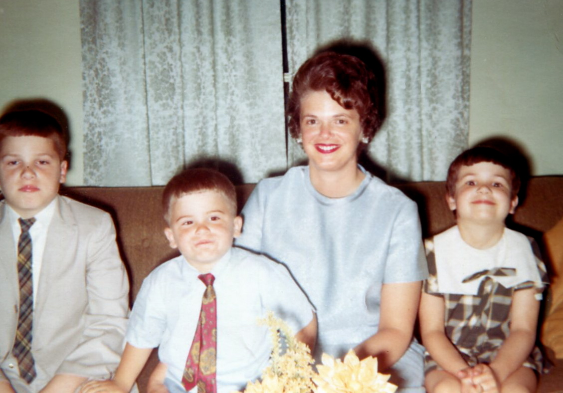 Proud Momma Dot & her children. L2R: William Dudley (me), Joe David, & Beth Bass, Rice, Virginia. 1970. Foto by my Dad (William M. Bass).