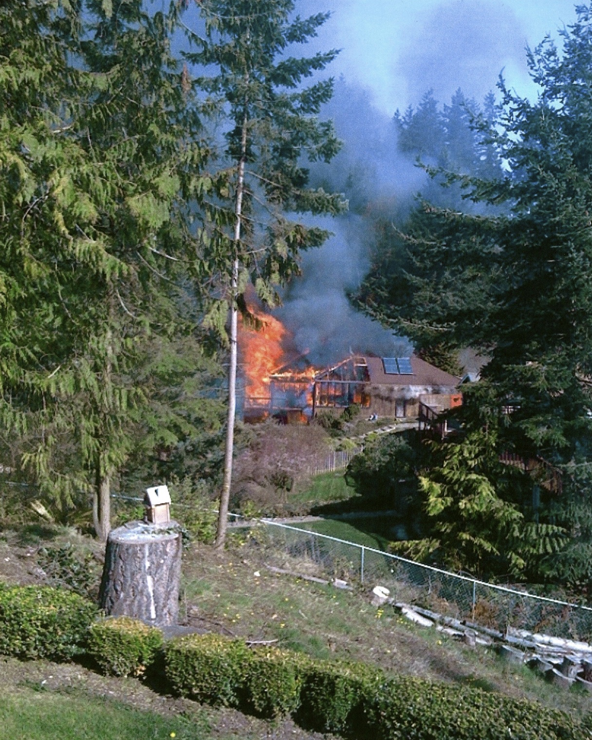 Fire! Our house in flames, Edmonds, WA. Saturday 20 March 2010. Photo by Unknown.
