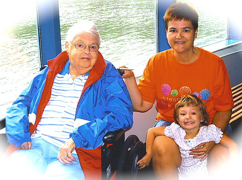 Near the End. Mom with Daughter Beth Bass Hinde and Granddaughter Allison. Late Summer 2006.