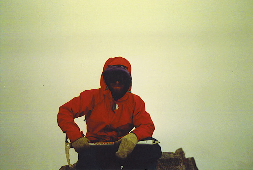 The Author, age 27, atop Jackson Peak, 13,517 ft., Tuesday 15 July 1986. Foto by team mate for William Bass.
