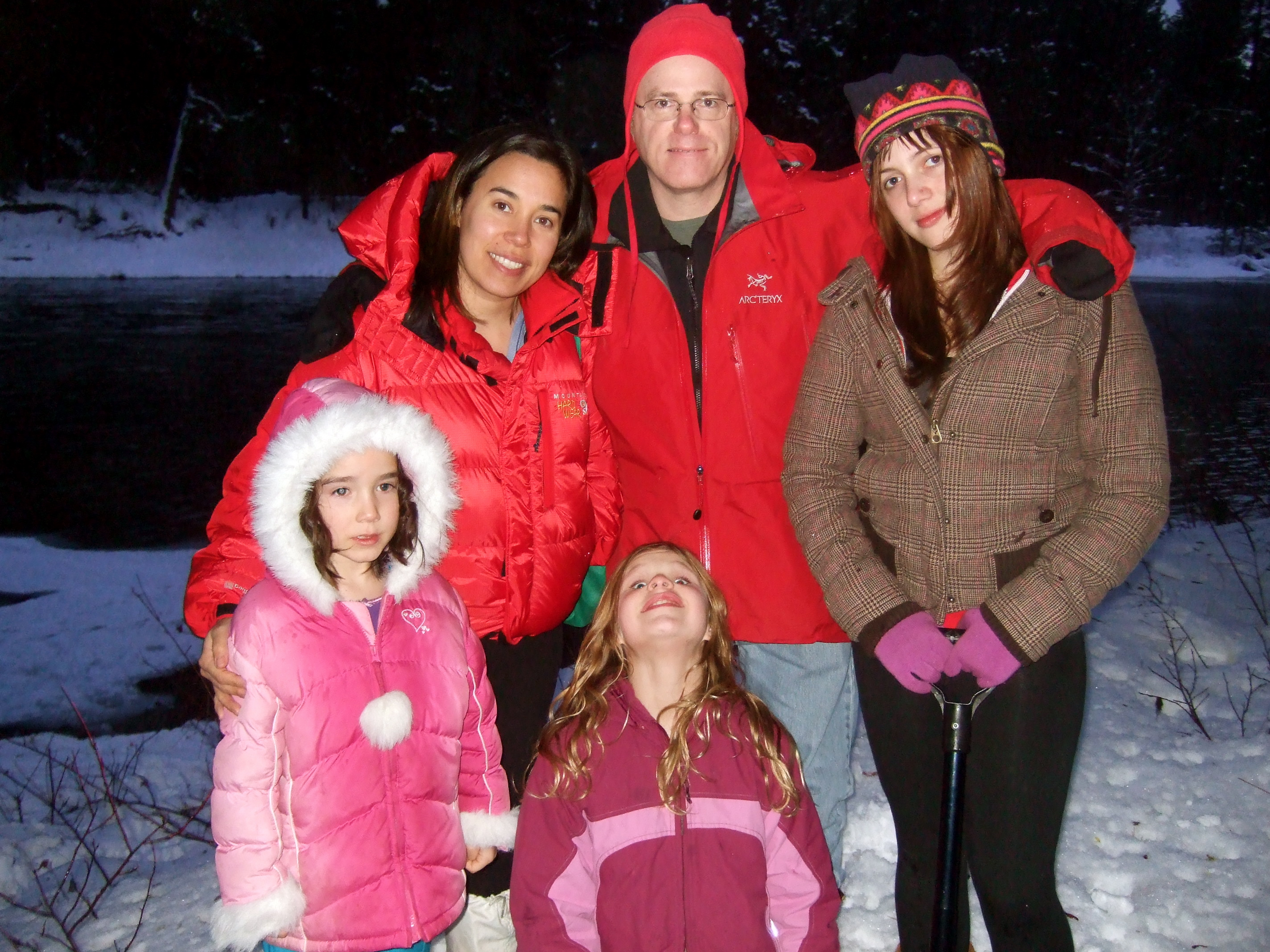 L2R: Kristina & William with Morgan in back with Talia & Kate in front. In the snow at the River House near Lake Wenatchee/Plain, WA. Wednesday 16 January 2008.