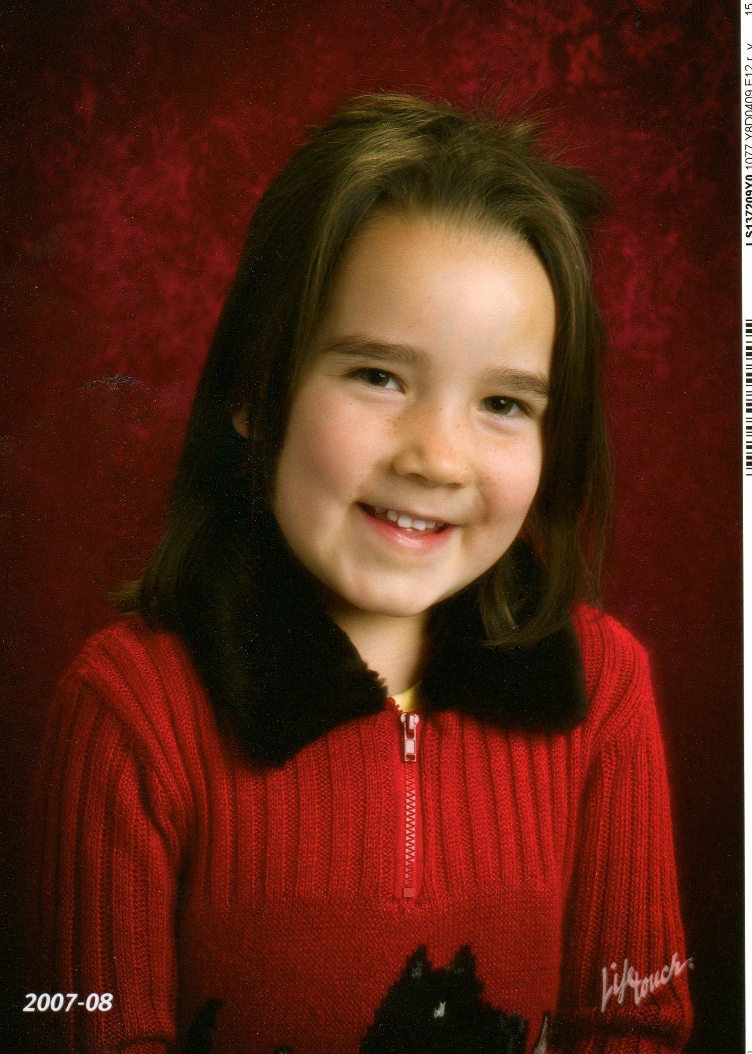 Talia, age 5, in Kindergarten, Adams Elementary School, Fall of 2007.