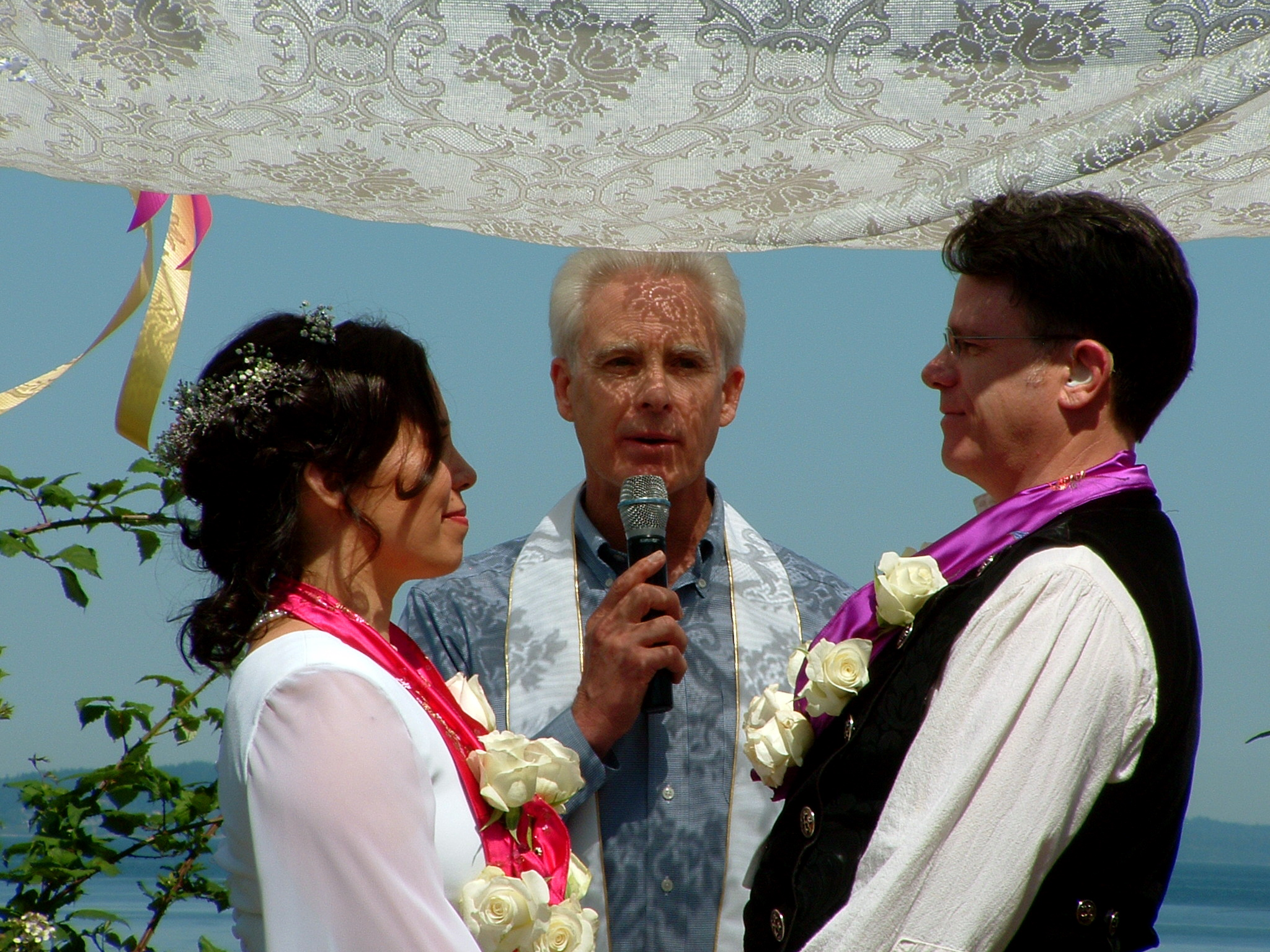 At long last the Wedding! The Marriage of Kristina & William Bass, Rev. John Halas officiating. May the Marriage last long! Northbeach Park, Blue Ridge, Seattle, Washington. Saturday 11 July 2009.