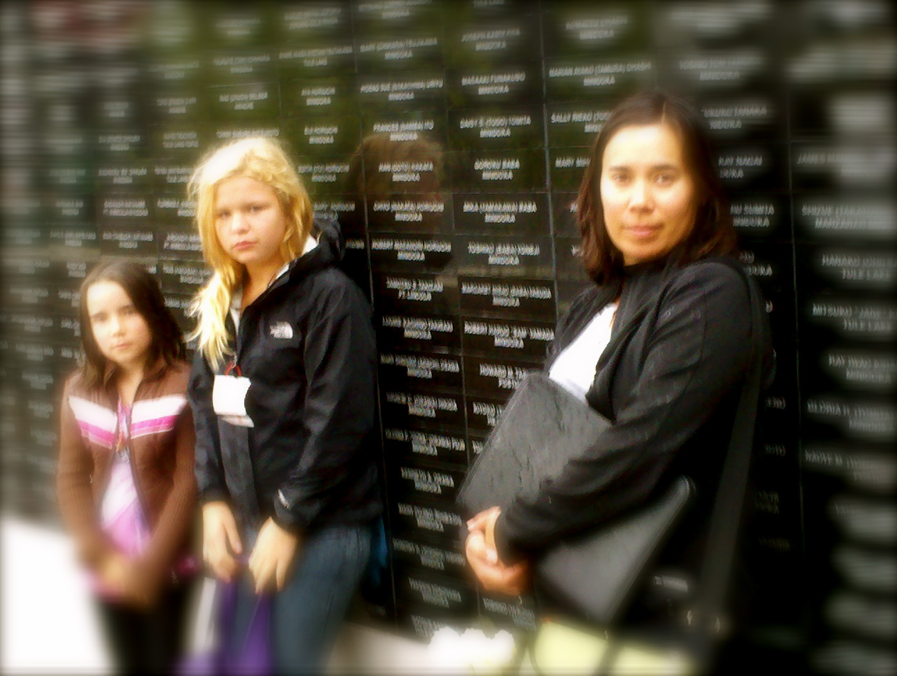 At the Japanese-American Memorial Wall re the WW2 Internments. L2R: Talia, Kate, & Kristina. Monday 6 September 2010.