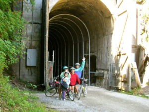 That's us, those crazy people! Snoqualmie Tunnel Entrance, Iron Horse Trail.