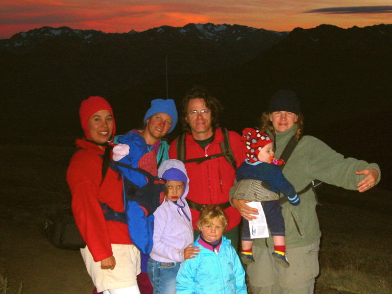 Family & Friends, Sunset atop Blue Mtn, Olympic National Park, Labor Day Weekend, Summer 2002. L2R: Front: Kristina with Talia, Morgan, then Kate. In back: Gwen, William, & Kiki with Atreyu.