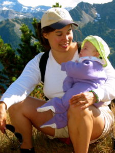 Kristina & Baby Talia, Deer Park Trails, Olympic National Park, Labor Day Weekend, Summer 2002.