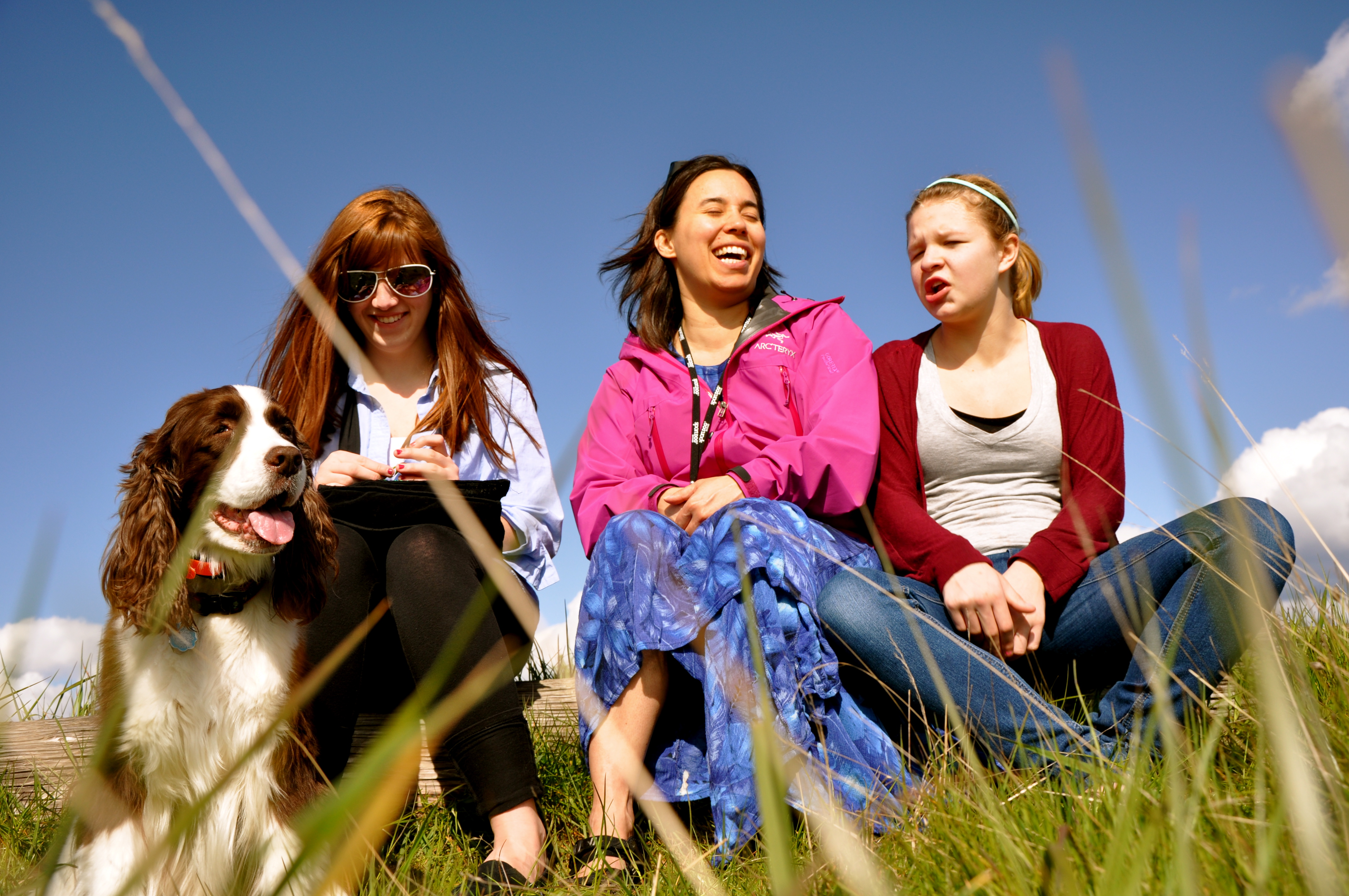 Joy in the Sun. Family Outing at Discovery Park, Seattle. L2R: Jolie the Doggie, Morgan, Kristina, & Kate. Saturday 30 April 2011.