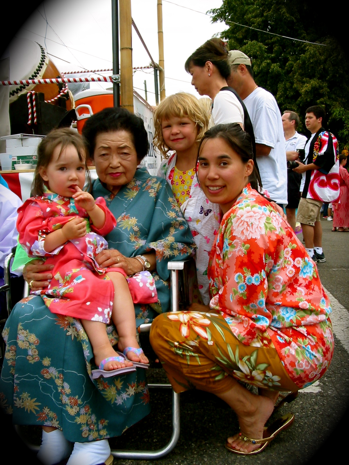 L2R: Talia, Grammy Yo, Kate, & Kristina at the Bon Odori Japanese-American Folk Festival, Seattle, Sunday 18 July 2004.