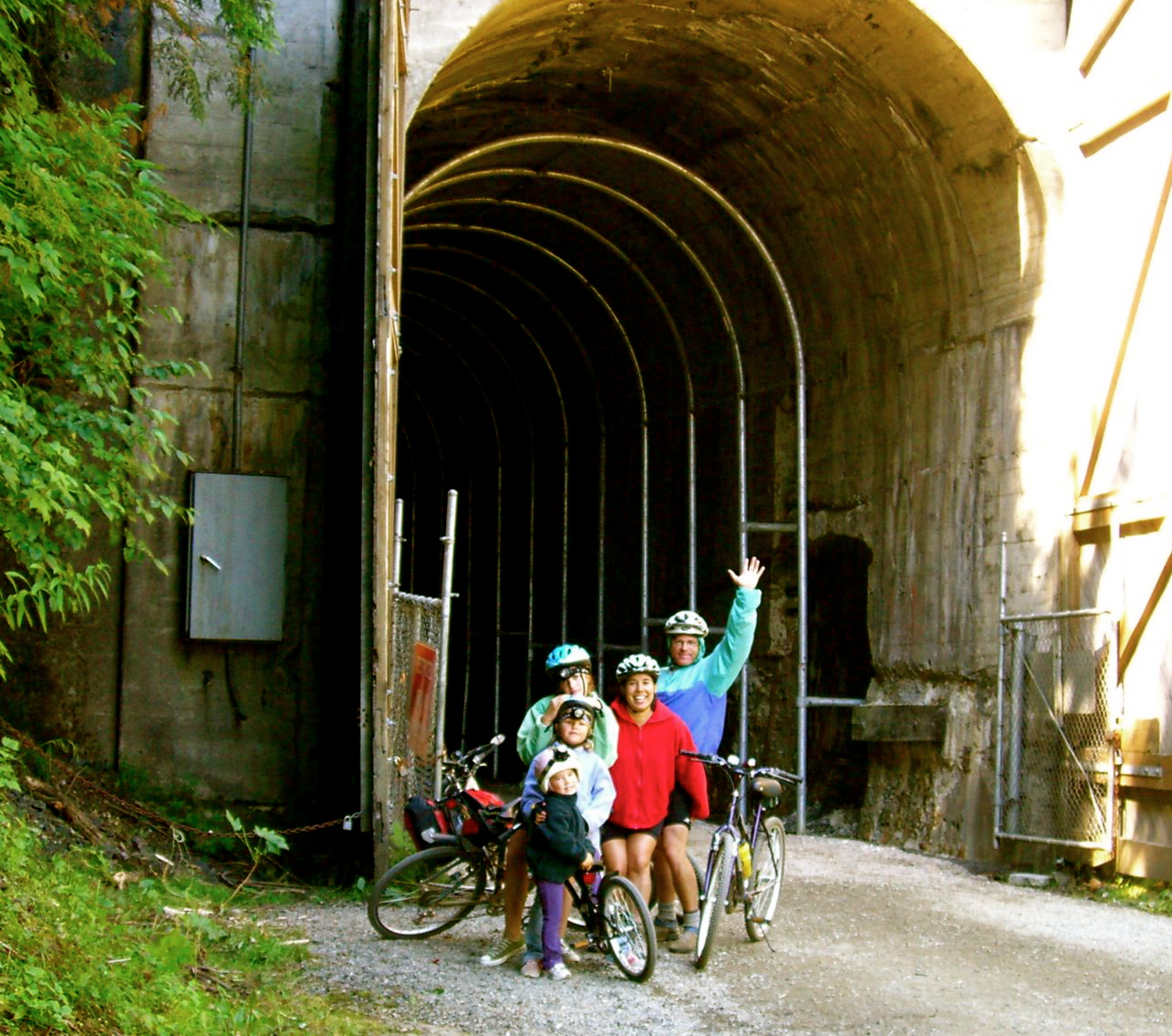 Family Bike Ride on the Iron Horsie Trail before pedaling into the almost-2.5 mile long Snoqualmie Tunnel, Cascade Mountains, Sunday 20 August 2006.
