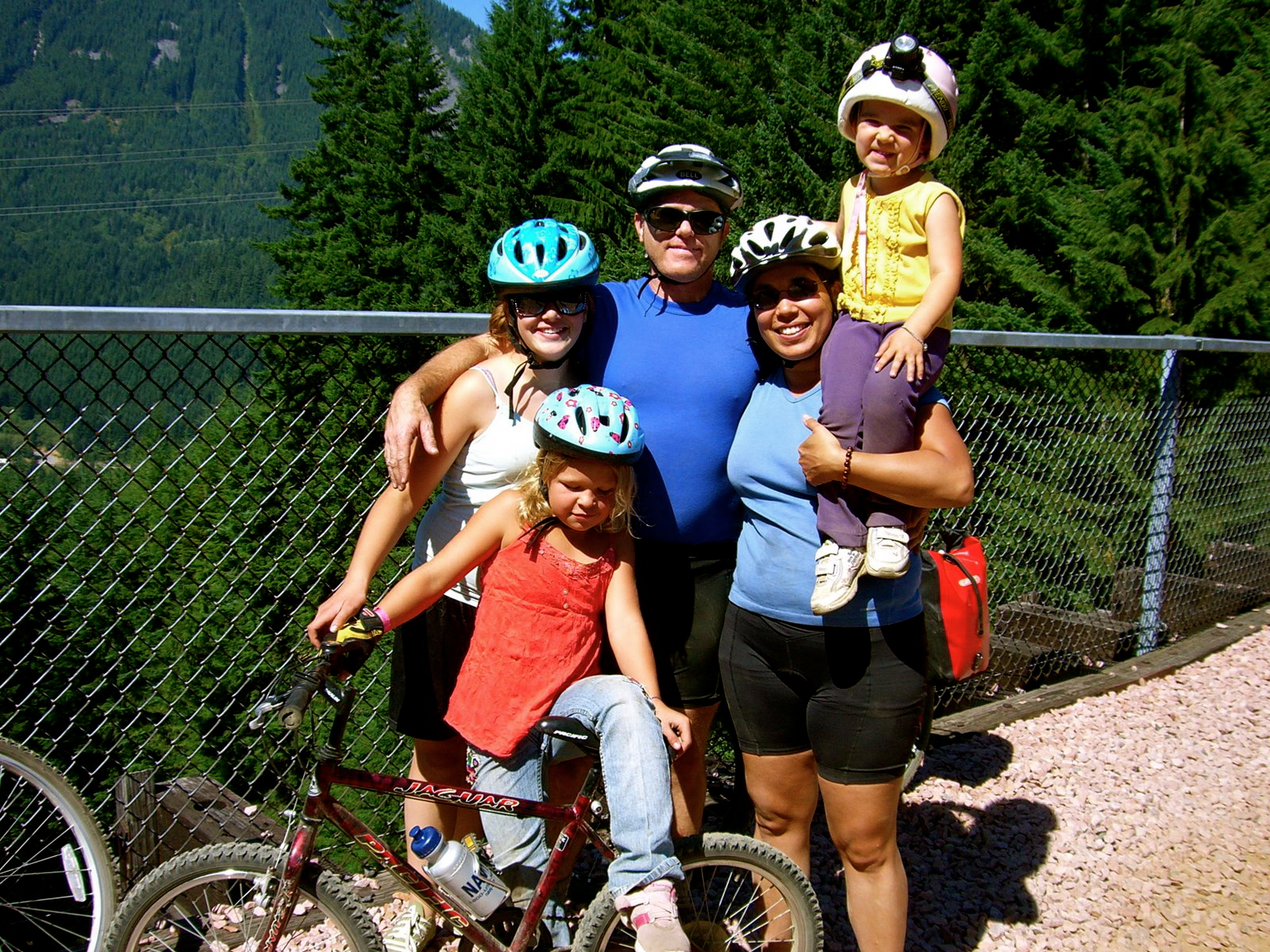 Railroad Trestles were fun places to take a break! Family Bike Ride, Iron Horsie Trail, WA, on Sunday 20 August 2006.