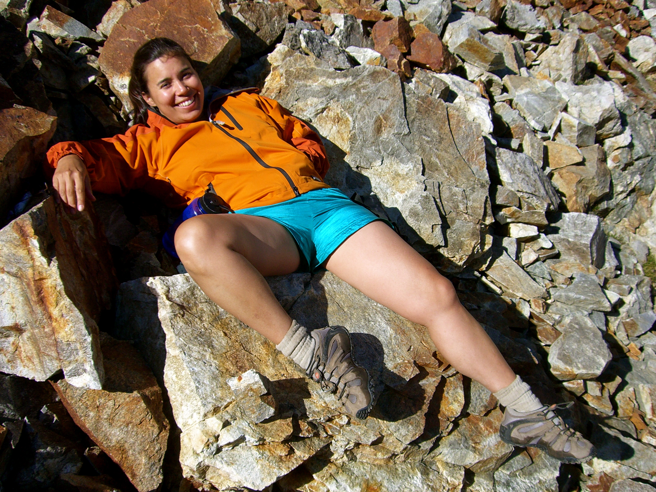 Kristina having a jolly good time enticing William, Spider Pass, East side of Glacier Peak Wilderness, WA. Late August 2006.