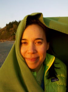 It's COLD out here in this wind! Kristina at Carkeek Park, Seattle. Friday 22 April 2011.