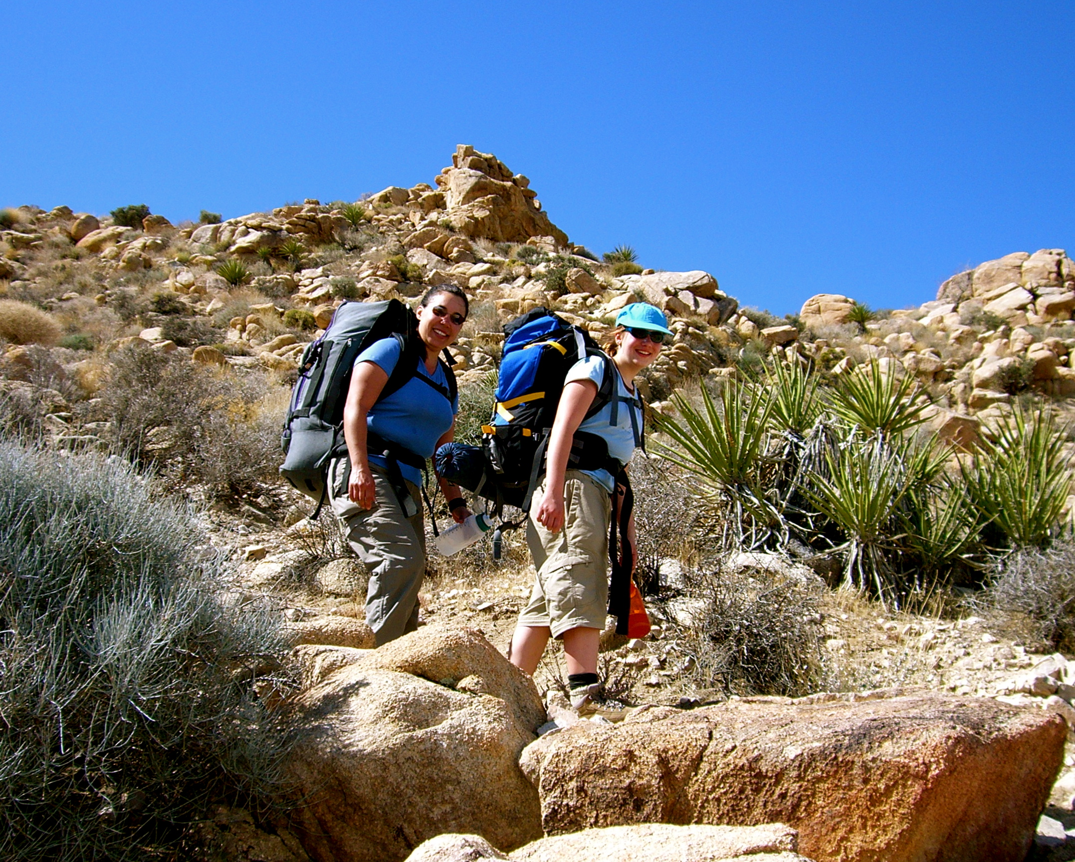 Kristina & Morgan backpacking after rock climbing in Joshua Tree National Park, CA. March 2006. Morgan turns 12 yrs old!