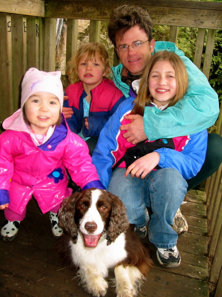 L2R: Talia, Kate, William, Morgan, & doggie Jo. Family Day Hike in Twin Falls State Park, Cascade Mtns, WA, Sunday 13 February 2005.