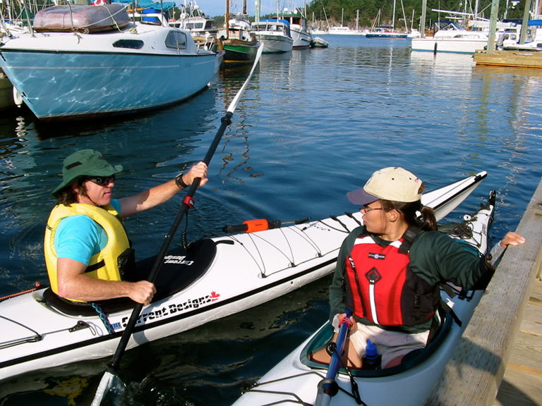 William & Kristina kayaking off Gabriola Island, Canadian Gulf Islands, BC. Early Summer of 2002.