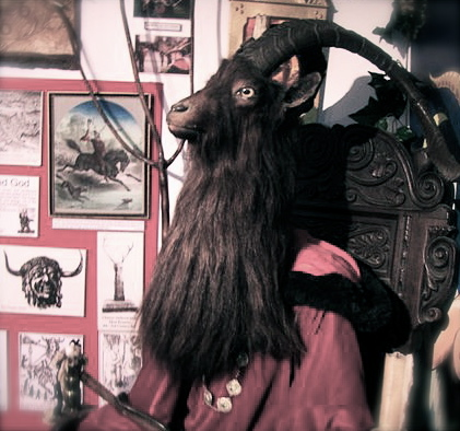 A Modern image of the Horned God of the Wiccans dispayed in the Museum of Witchcraft in Cornwall, the UK. Photo from Wikipedia Commons.
