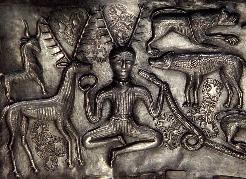 Ancient image of Cernunnos on the silver Gundestrop Cauldron created by Celtic craftsmen during the European Iron Age. Photo from Wikipedia Commons.