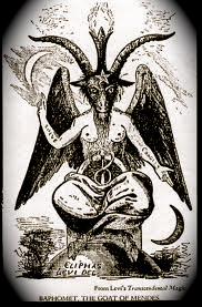 """The classic image of the goat-headed deity Baphomet drawn by the French sorcerer Eliphas Levi. Baphomet was all made up, conjured by Medieval Catholics to tarnish Pagan Witches as """"Devil Worshippers"""" and condemn the Catholic Knights Templars, influenced by Islam, as Herectics. """"Real"""" Satanists reveled in the symbol and Wiccans (also known as Witches) were further misidentified with the Devil. Image from Wikipedia Commons."""