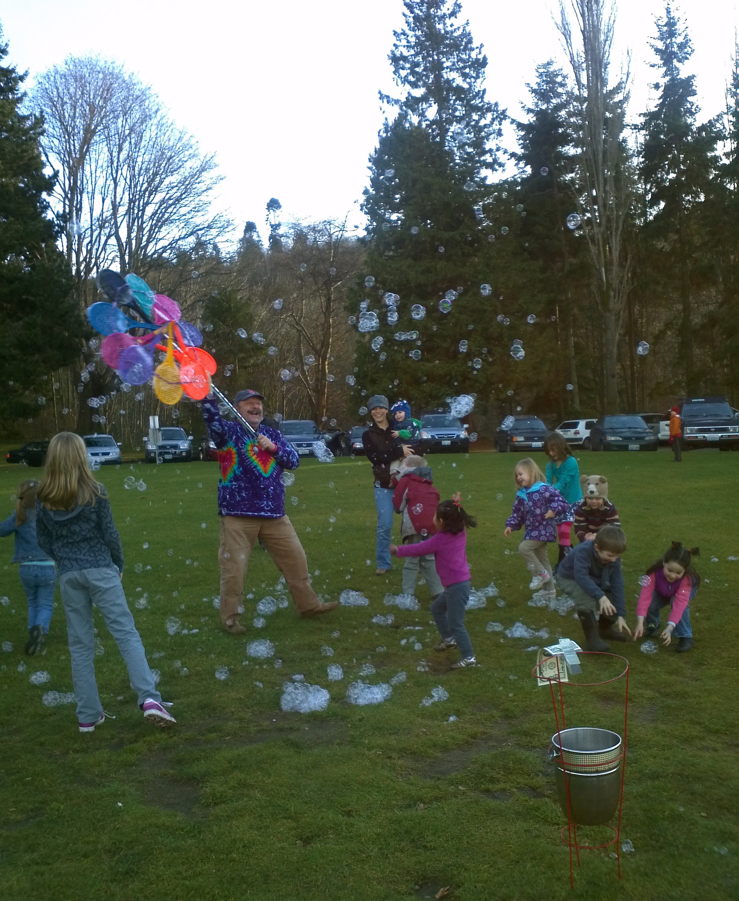 The Bubble Man at play in Carkeek Park, New Years Day 2012.