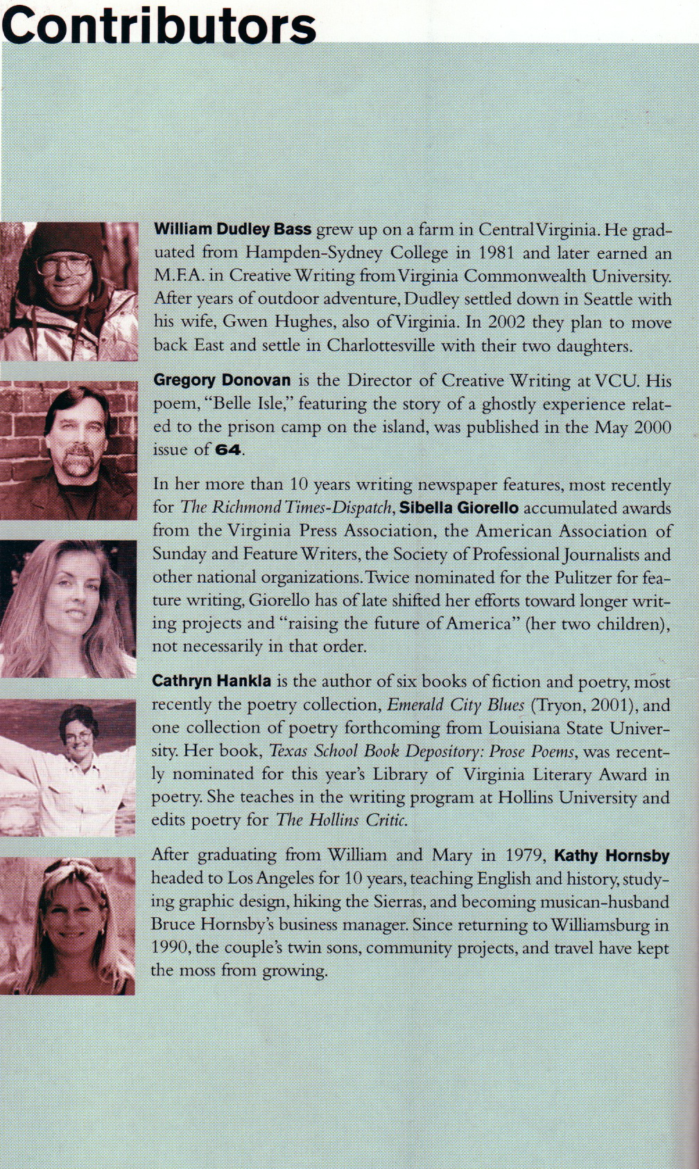 "Among the Contributors to the October 2001 Edition of ""64 Magazine."""
