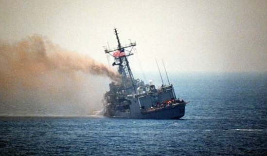 U.S.S. Stark after being hit by Iraq with a French Exocet missile in the Persian Gulf, killing 37 Americans and wounding 21 others. May 1987.