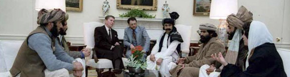 "President Ronald Reagan, Republican, with Afghan Mujahideen in the White House Oval Office, 1983. The Mujahideen ""Freedom Fighters"" became the Taliban."