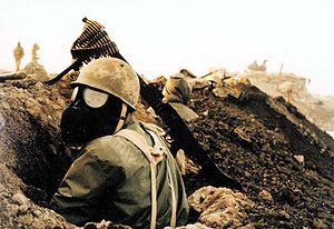 Iranian soldier prepared for Iraqi chemical attacks during the Iran-Iraq or First Persian Gulf War, 1979-1988.