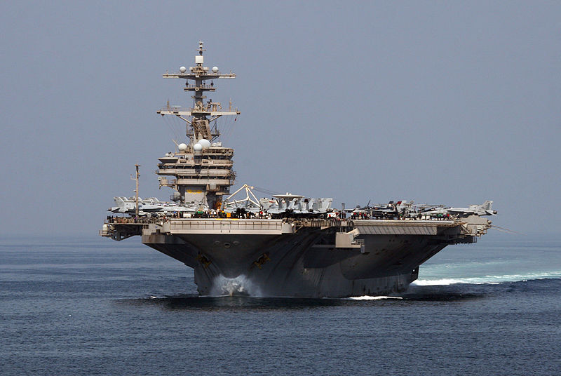 USS George H. W. Bush in the Straight of Hormuz, Persian Gulf. Wikipedia Commons.