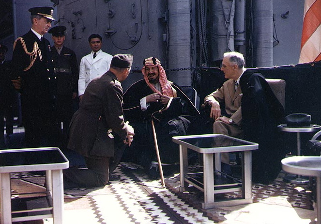 King ibn Saud of Saudi Arabia (left) meeting with U.S. President Franklin D. Roosevelt aboard the USS Quincy after Yalta, February 1945.