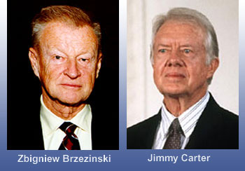 "President Jimmy Carter, (right) and his National Security Advisor, ""Zbig"" Brzezinski. American Democrats, they engineered a covert coalition to arm and train Afghan Mujahideen and their Arab and Pakistani allies as part of a grand imperial scheme to turn Afghanistan into the ""Soviet Vietnam."" Cold War rivalry failed to anticipate enraged Fundamentalist Muslim jihadi blowback as militant guerrillas and terrorists trained in Afghanistan-Pakistan moved to attack Russia, Europe, America, and Western influences everywhere."