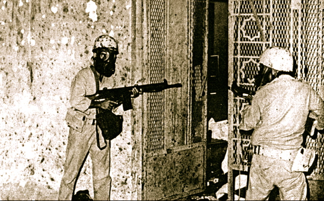 Saudi soldiers fighting their way into the Qaboo Underground beneath the Grand Mosque.