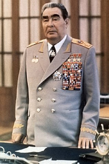 Leonid Brezhnev, leader of the U.S.S.R., 1964-1982, with some of his 114 medals.