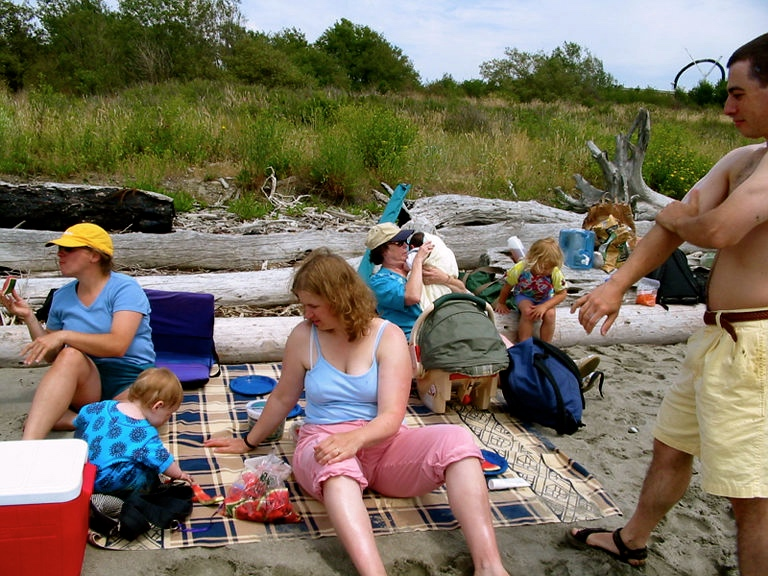 Celebrating Community along the shores of the Salish Sea, Discovery Park, Seattle, July 2002.