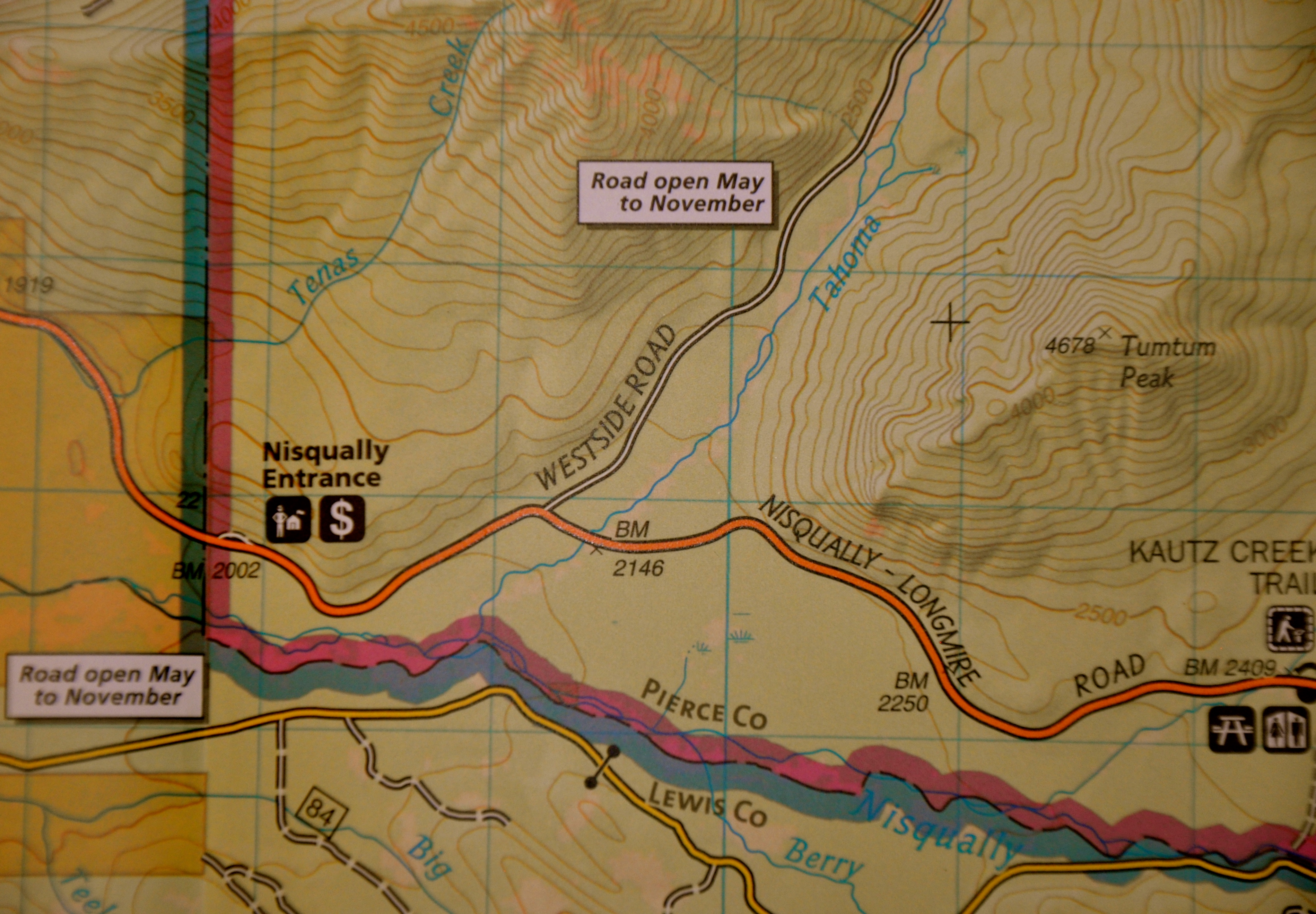 Map of MRNP showing the Nisqually Entrance and the road towards the Kautz Creek Trailhead.