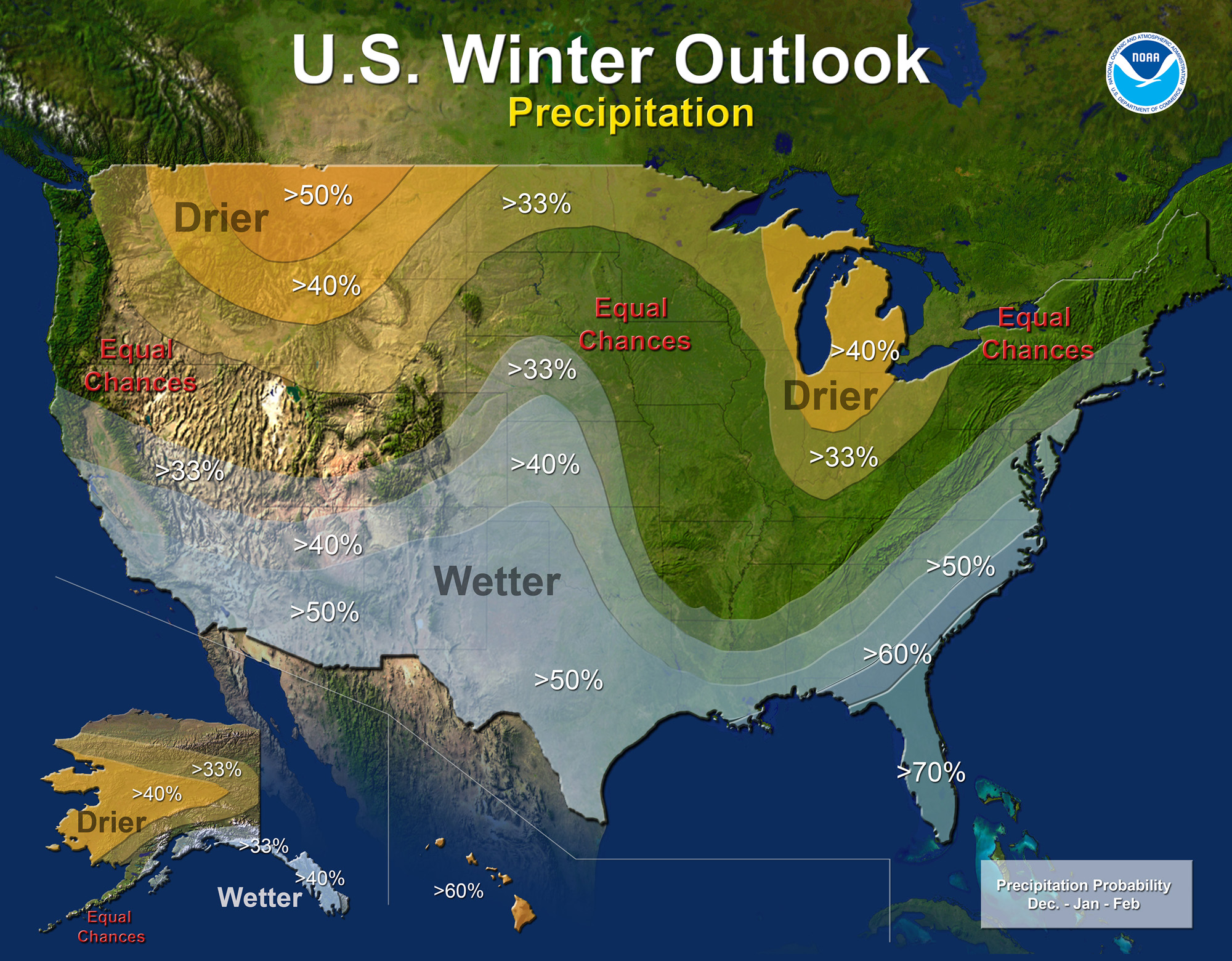 NOAA's Precipitation Outlook for the U.S.A. across the Winter of 2015- 2016.