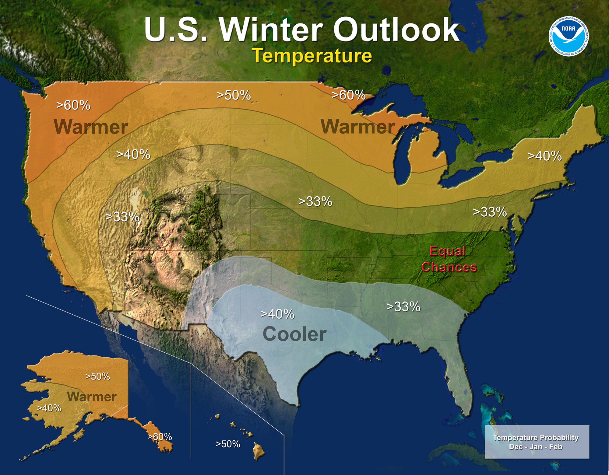 U.S.A. Winter Outlook for 2015-2016 by NOAA.