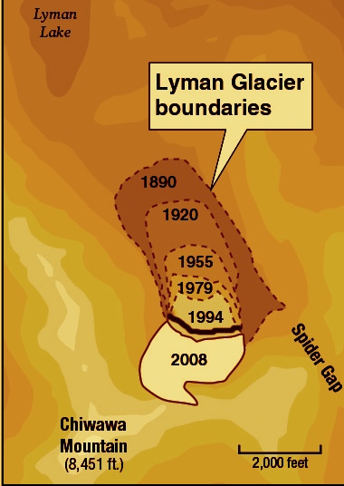 Modified from Image of Mt. Chiwawa's Lyman Glacier melting away across 118 years between 1890 and 2008 per glaciology field research by Nichols College based in Dudley, Massachusetts.