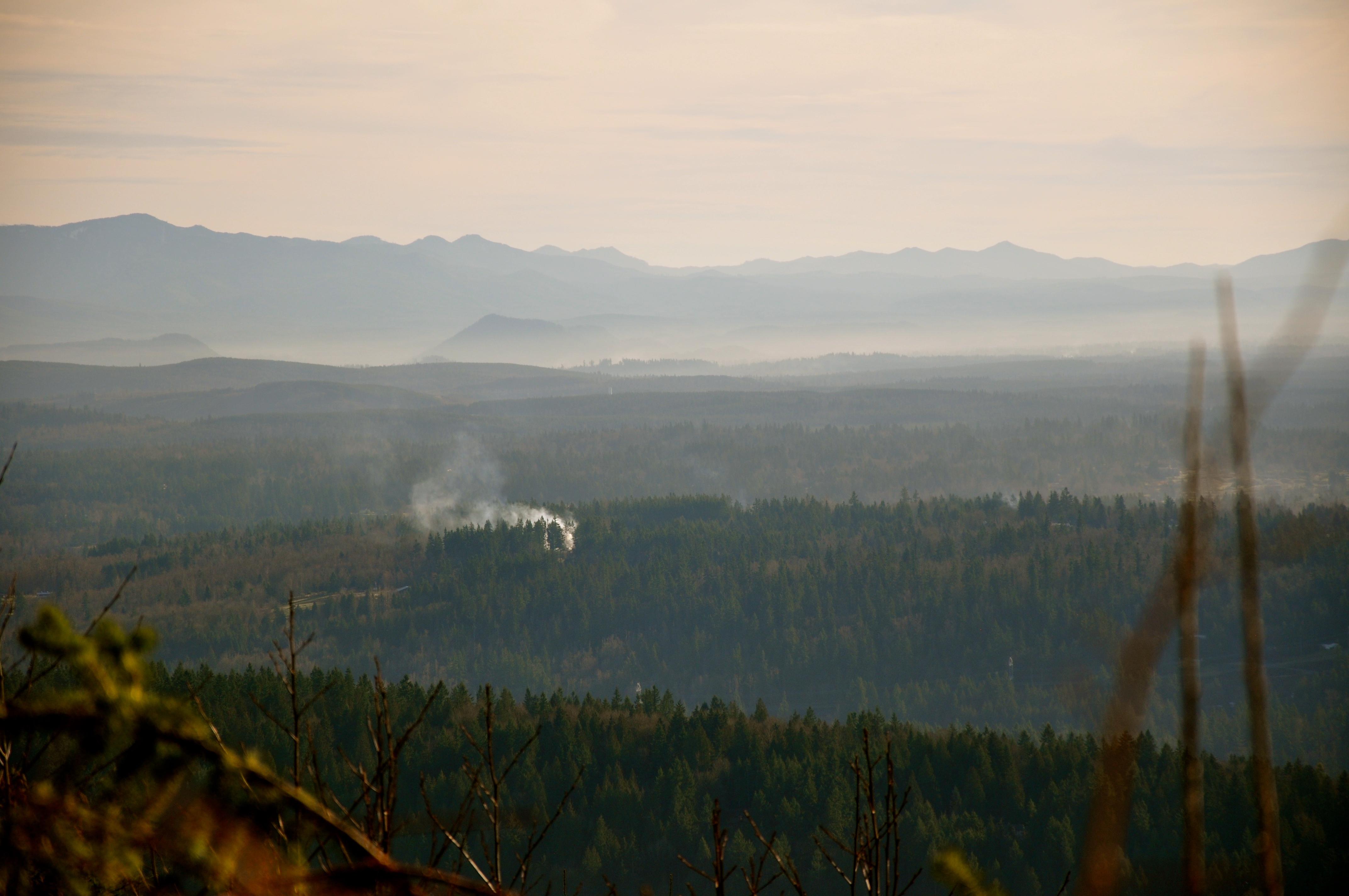 Smoke and haze below the Cascades.