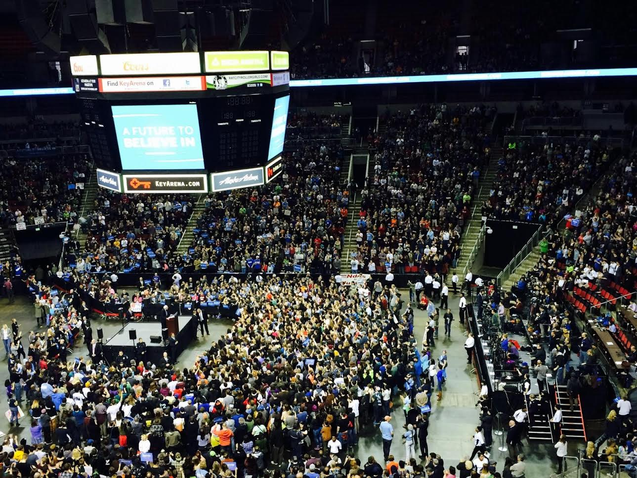 Rally for Bernie in the Key Arena, Seattle, WA. Foto by Kristina Katayama. Sunday 20 March 2016.